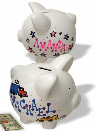 start babyu0027s college fund now with a and ceramic piggy bank the learning express artists will decorate and personalize your